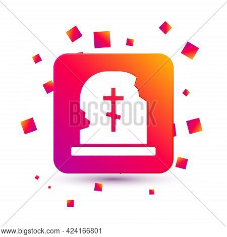 White Grave With Tombstone Icon Isolated On White Background. Square Color Button. Vector