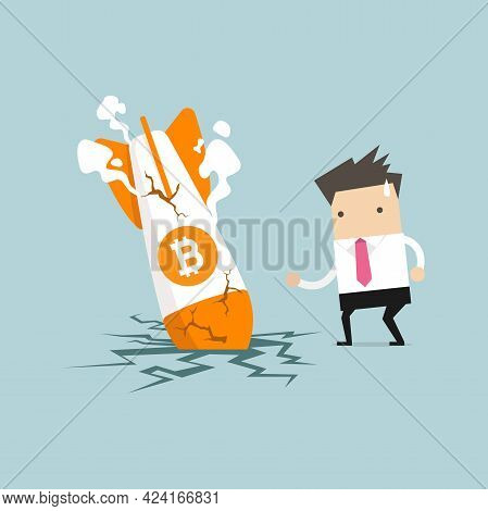 Businessman With Bitcoin Rocket Crash Flying Down. Bitcoin Price Collapse, Crypto Currency Volatilit