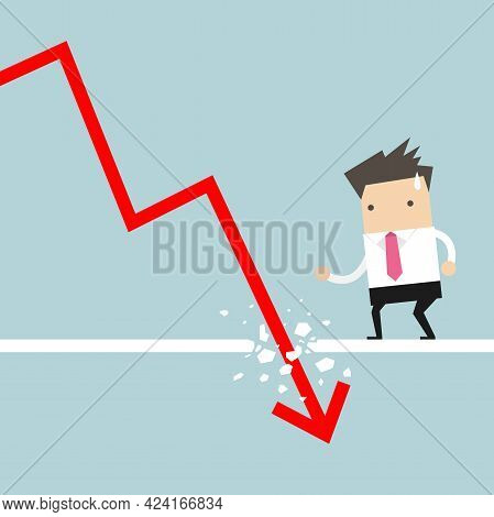 Businessman Looking Down At The Falling Arrow. Economic Collapse Definition.