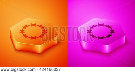Isometric Crown Of Thorns Of Jesus Christ Icon Isolated On Orange And Pink Background. Religion, Bib