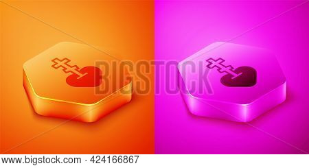 Isometric Religious Cross In The Heart Inside Icon Isolated On Orange And Pink Background. Love Of G