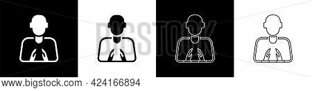 Set Hands In Praying Position Icon Isolated On Black And White Background. Prayer To God With Faith