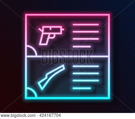 Glowing Neon Line Weapon Catalog Icon Isolated On Black Background. Police Or Military Handgun. Smal