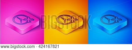 Isometric Line Clock With Airplane Icon Isolated On Pink And Orange, Blue Background. Designation Of
