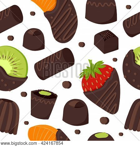 An Endless Pattern Of Chocolate-covered Fruits And Chocolate-covered Candies. Vector Illustration.