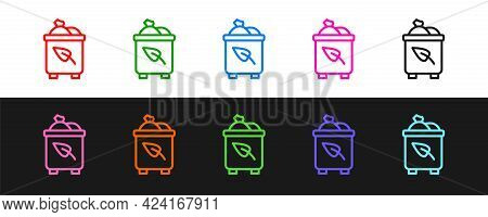 Set Line Recycle Bin With Recycle Symbol Icon Isolated On Black And White Background. Trash Can Icon