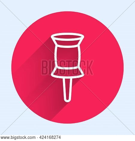 White Line Push Pin Icon Isolated With Long Shadow. Thumbtacks Sign. Red Circle Button. Vector