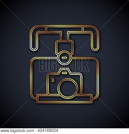 Gold Line Gimbal Stabilizer With Dslr Camera Icon Isolated On Black Background. Vector