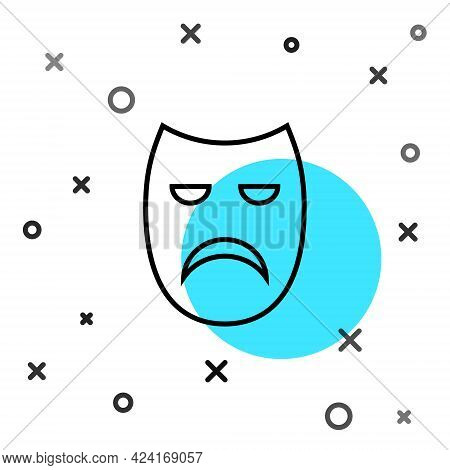 Black Line Drama Theatrical Mask Icon Isolated On White Background. Random Dynamic Shapes. Vector