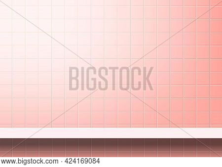 Pink Tiles Wall With Shelf For Background, Modern Square Mosaic Grid Pattern For Decoration Architec