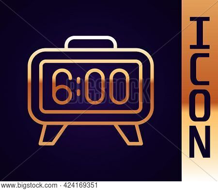 Gold Line Digital Alarm Clock Icon Isolated On Black Background. Electronic Watch Alarm Clock. Time