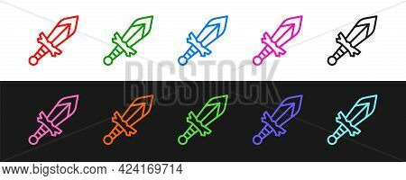 Set Line Medieval Sword Icon Isolated On Black And White Background. Medieval Weapon. Vector