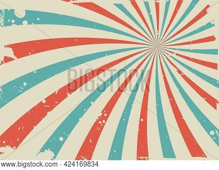 Sunlight Retro Spiral Grunge Background. Blue, Red And Beige Color Burst Wallpaper. Vector Illustrat