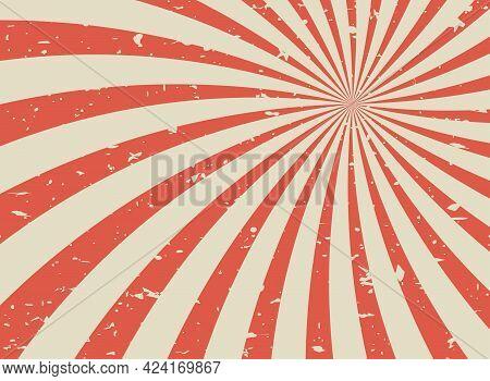 Sunlight Retro Spiral Grunge Background. Red And Beige Color Burst Wallpaper. Vector Illustration. S