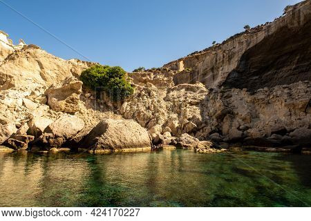 Kleftiko - Collapsed Rocks Forming Hidden Cave Due To Volcanic Activity, On The Southwest Coast Of M