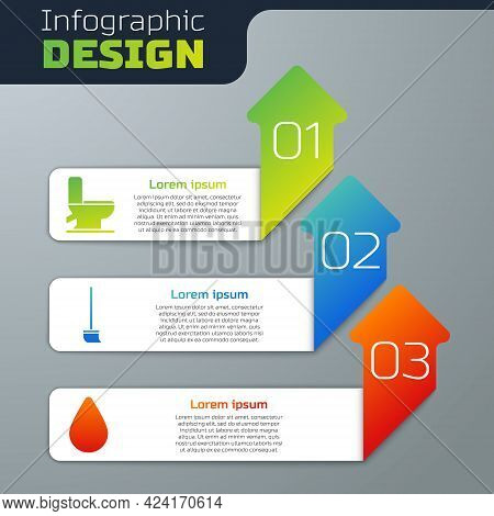 Set Toilet Bowl, Mop And Water Drop. Business Infographic Template. Vector