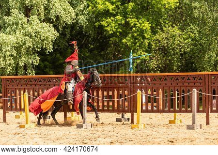 Moscow, Russia, June 8, 2019 - A Knight With A Spear Rides A Horse To Attack At A Knightly Tournamen