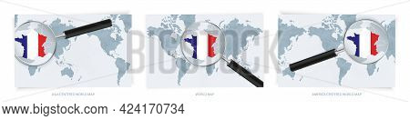 Blue Abstract World Maps With Magnifying Glass On Map Of France With The National Flag Of France. Th