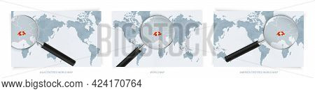 Blue Abstract World Maps With Magnifying Glass On Map Of Switzerland With The National Flag Of Switz