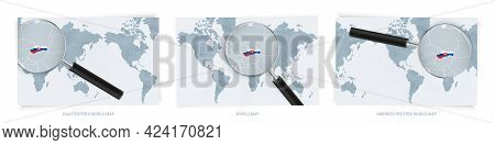 Blue Abstract World Maps With Magnifying Glass On Map Of Slovakia With The National Flag Of Slovakia