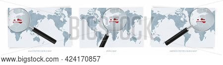 Blue Abstract World Maps With Magnifying Glass On Map Of Latvia With The National Flag Of Latvia. Th