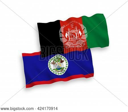 National Fabric Wave Flags Of Belize And Islamic Republic Of Afghanistan Isolated On White Backgroun