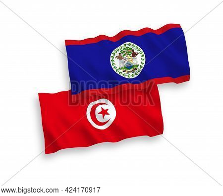 National Fabric Wave Flags Of Belize And Republic Of Tunisia Isolated On White Background. 1 To 2 Pr