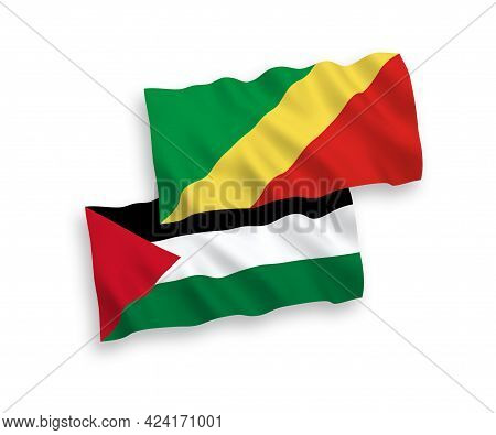 National Fabric Wave Flags Of Republic Of The Congo And Palestine Isolated On White Background. 1 To