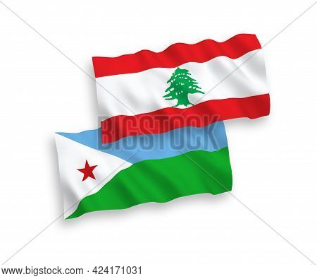 National Fabric Wave Flags Of Republic Of Djibouti And Lebanon Isolated On White Background. 1 To 2