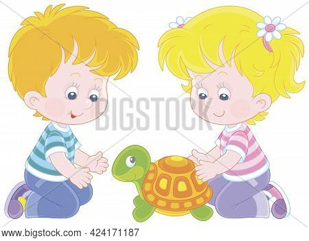 Little Girl And Boy Friendly Smiling And Playing With Their Small Turtle In A Nursery School, Vector