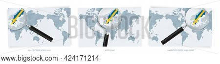 Blue Abstract World Maps With Magnifying Glass On Map Of Sweden With The National Flag Of Sweden. Th