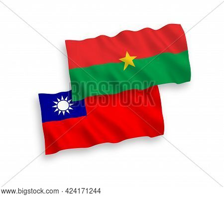 National Fabric Wave Flags Of Burkina Faso And Taiwan Isolated On White Background. 1 To 2 Proportio