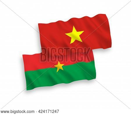 National Fabric Wave Flags Of Burkina Faso And Vietnam Isolated On White Background. 1 To 2 Proporti
