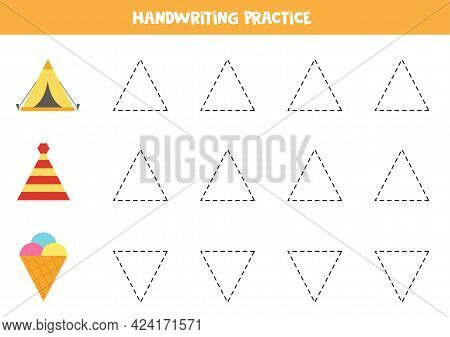 Tracing Contours Of Triangular Objects. Handwriting Practice For Children.