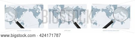 Blue Abstract World Maps With Magnifying Glass On Map Of Vatican City With The National Flag Of Vati