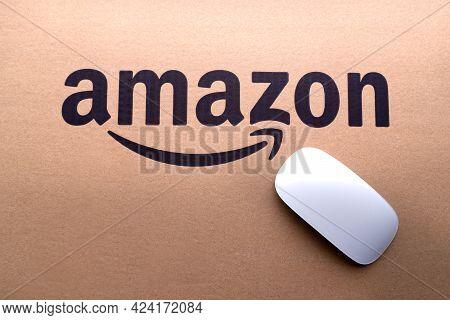 Kuala Lumpur, Malaysia - June 1, 2021 : Amazon Prime Box Or Amazon Shipping Box On Black Background.