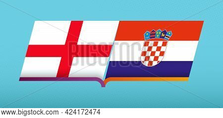 Football Icon Of England Versus Croatia In Football Competition. Vector Icon.