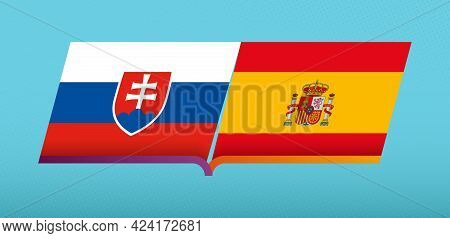 Football Icon Of Slovakia Versus Spain In Football Competition. Vector Icon.