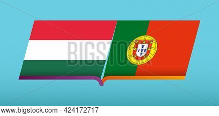Football Icon Of Hungary Versus Portugal In Football Competition. Vector Icon.
