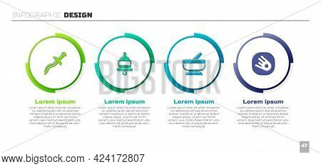 Set Dagger, Ringing Alarm Bell, Mortar And Pestle And Comet Falling Down Fast. Business Infographic