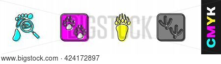 Set Magnifying Glass With Footsteps, Paw Print, Bear Paw Footprint And Dove Icon. Vector