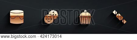 Set Cake, Cookie Or Biscuit, And Candy Icon With Long Shadow. Vector
