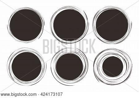 Set Of Abstract Grunge Blank Circle Shape Illustration Design, Black Circle Paint Brush Template Vec