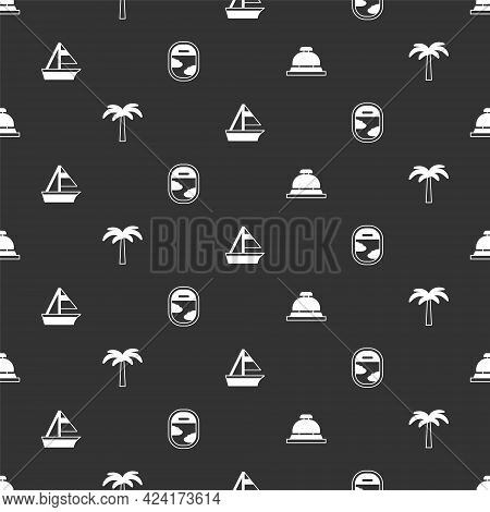 Set Hotel Service Bell, Tropical Palm Tree, Yacht Sailboat And Airplane Window On Seamless Pattern.