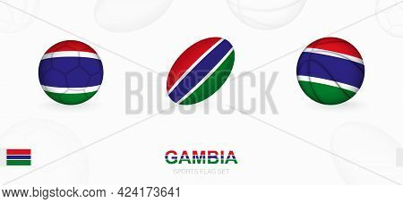 Sports Icons For Football, Rugby And Basketball With The Flag Of Gambia. Vector Icon Set On A Sports