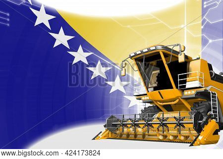 Agriculture Innovation Concept, Yellow Advanced Rural Combine Harvester On Bosnia And Herzegovina Fl