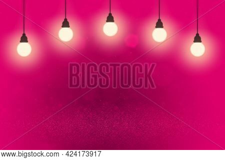 Pink Pretty Brilliant Abstract Background Glitter Lights With Light Bulbs And Falling Snow Flakes Fl