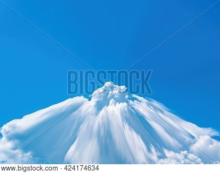 Abstract Illustration Of A Cloudy Volcano Erupting In The Blue Sky. White Clouds. Blue Sky. Space. E
