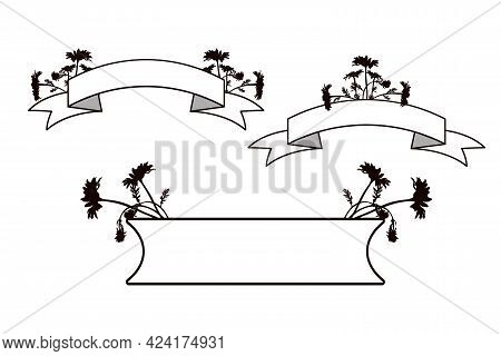Black And White Horizontal Banners Decorated With Silhouettes Of Flowers.