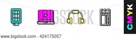 Set Softbox Light, Online Play Video, Headphones And Cinema Ticket Icon. Vector